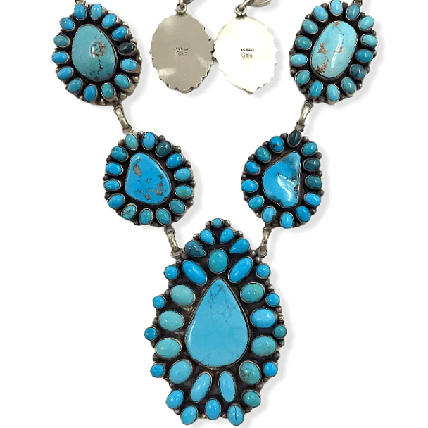 Native American Necklaces & Pendants - Large Navajo Turquoise Teardrop Necklace Set