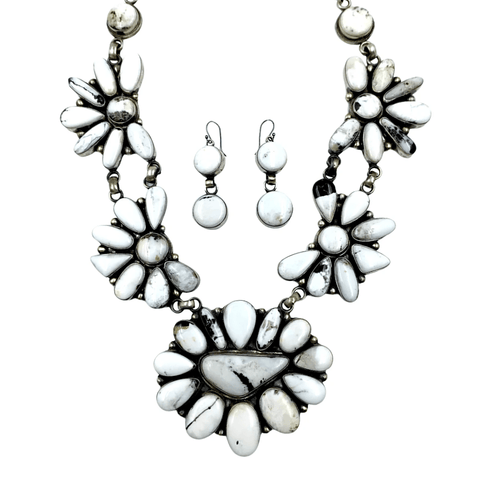 Native American Necklaces & Pendants - Large White Buffalo Necklace Set - Kathleen Chavez, Navajo
