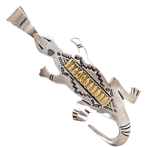 Native American Necklaces & Pendants - Lounging Lizard Navajo 14K Gold Over Sterling Silver Pendant