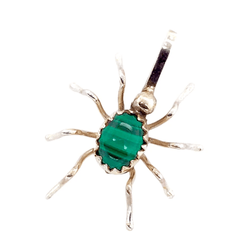 Image of Native American Necklaces & Pendants - Malachite Mini Spider Pendant - Navajo