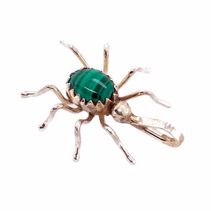 Native American Necklaces & Pendants - Malachite Mini Spider Pendant - Navajo