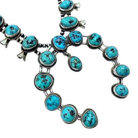 Image of Native American Necklaces & Pendants - Native American Navajo Large Naja Turquoise Squash Blossom Necklace Set - Richard Begay
