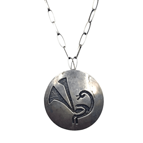 Image of Native American Necklaces & Pendants - Navajo Ancient Glyph Sterling Silver Old Pawn Necklace