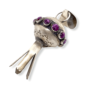 Native American Necklaces & Pendants - Navajo Blossom Pendant In Purple Spiny Oyster