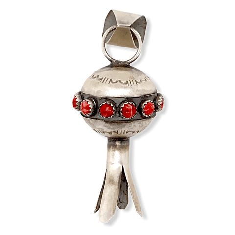 Image of Native American Necklaces & Pendants - Navajo Blossom Pendant In Red Spiny Oyster