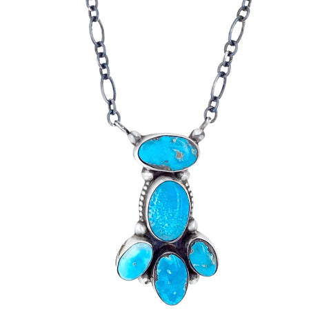 Image of Native American Necklaces & Pendants - Navajo Blue Bird Turquoise Cluster Necklace- Ella Peters - Native American