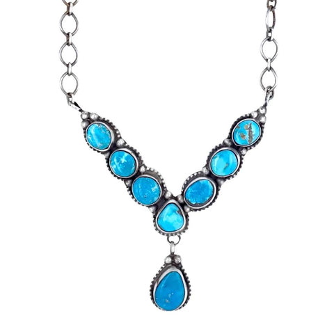 Image of Native American Necklaces & Pendants - Navajo Blue Bird Turquoise Dangle Necklace- Ella Peters