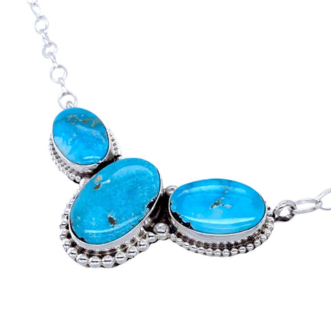 Image of Native American Necklaces & Pendants - Navajo Blue Bird Turquoise Triple Stone Sterling Silver Drop Necklace- Paul Livingston