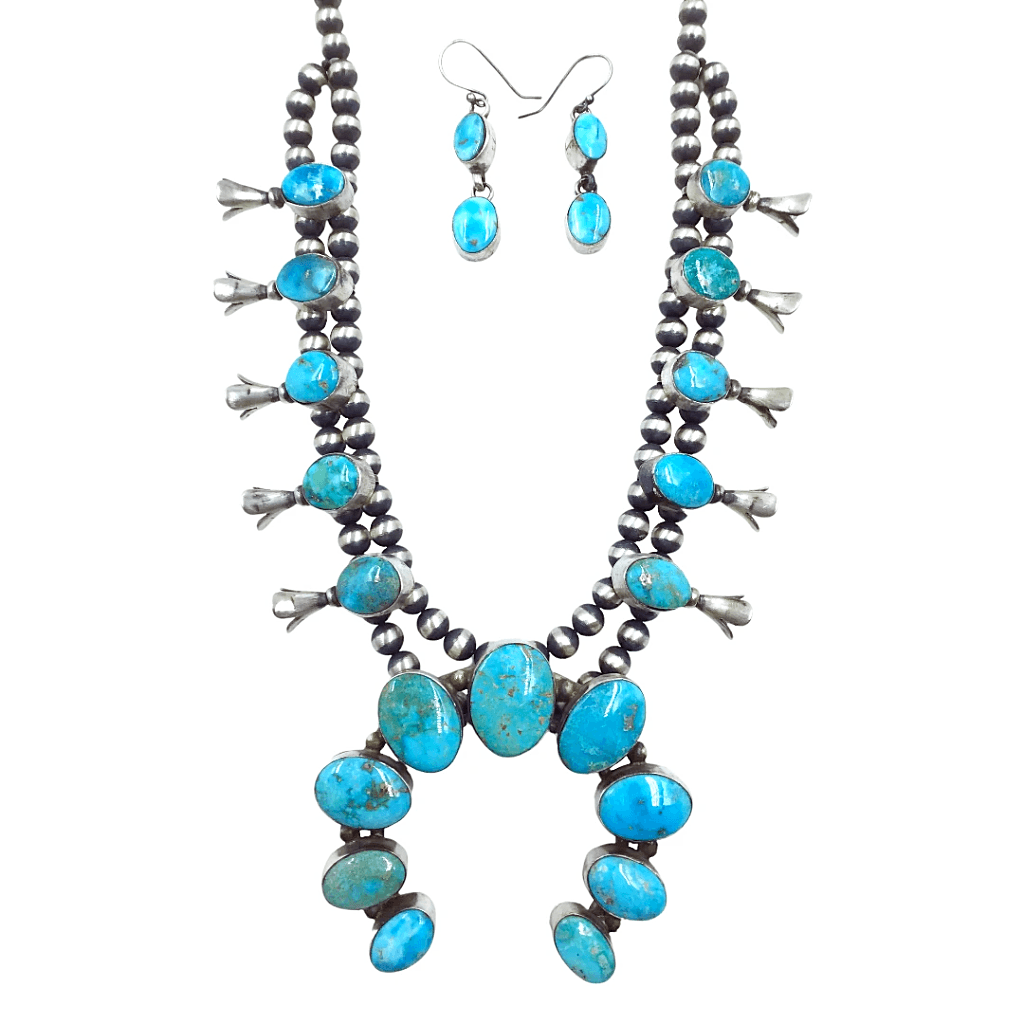 Native American Necklaces & Pendants - Navajo Blue Gem  Turquoise Squash Blossom Set - Kathleen Chavez, Navajo