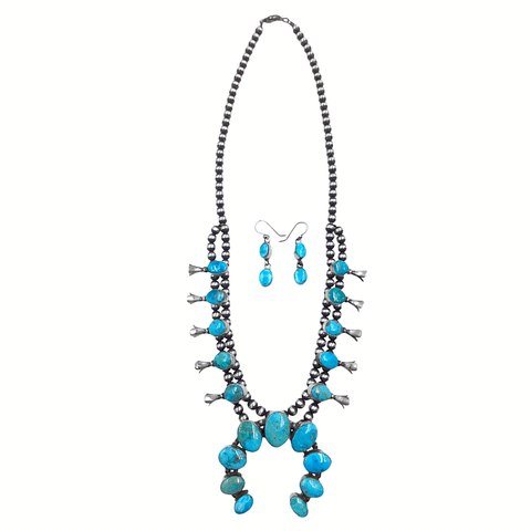 Image of Native American Necklaces & Pendants - Navajo Blue Gem  Turquoise Squash Blossom Set - Kathleen Chavez, Navajo