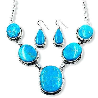 Image of Native American Necklaces & Pendants - Navajo Bluebird Turquoise Radiance Necklace And Set- Samson Edsitty