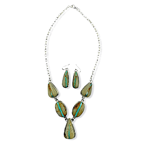 Image of Native American Necklaces & Pendants - Navajo Boulder Turquoise Teardrop Necklace Set - Samson Edsitty