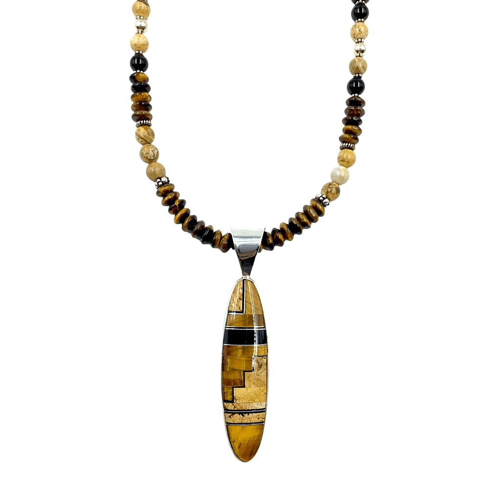 Native American Necklaces & Pendants - Navajo Brown  Picture Jasper  Onyx Necklace