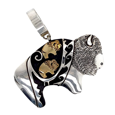 Native American Necklaces & Pendants - Navajo Buffalo 12K Gold Fill Sterling Silver Pendant - T & R Singer