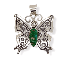 Load image into Gallery viewer, Native American Necklaces & Pendants - Navajo Butterfly Pendant With Turquoise Stone