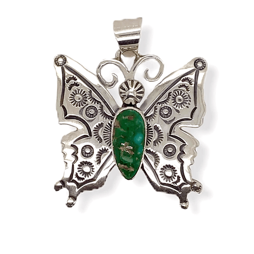 Native American Necklaces & Pendants - Navajo Butterfly Pendant With Turquoise Stone