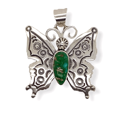 Image of Native American Necklaces & Pendants - Navajo Butterfly Pendant With Turquoise Stone