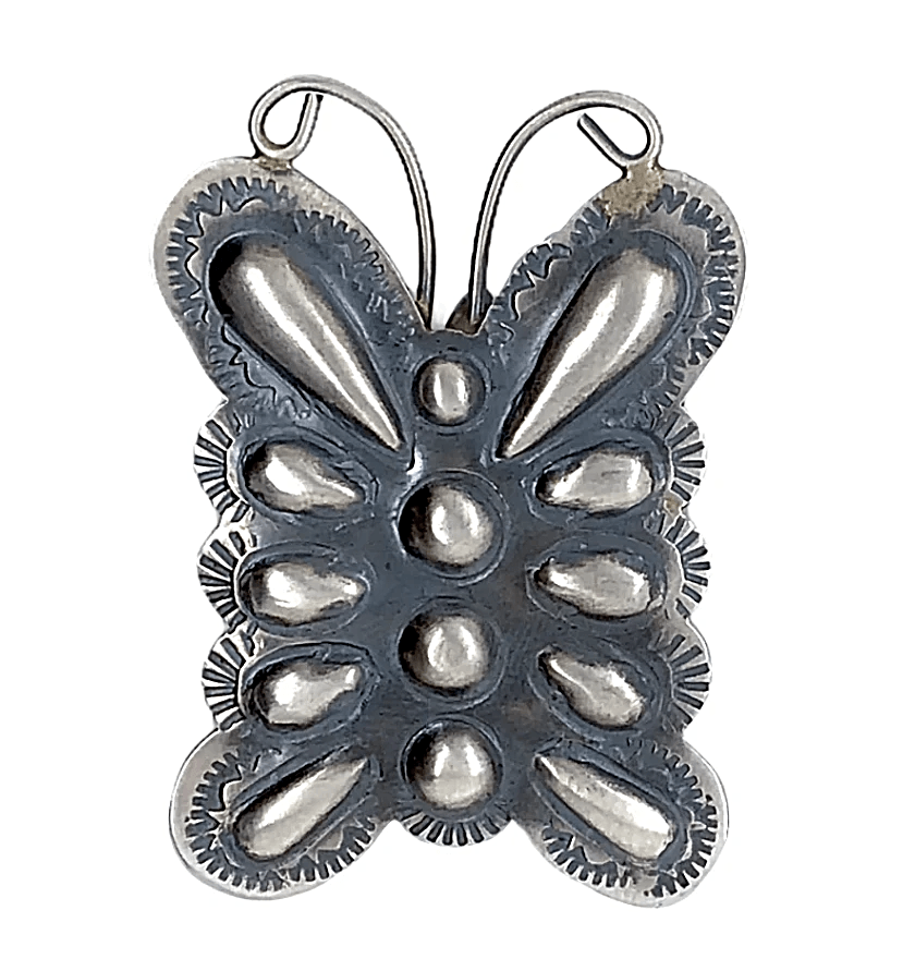 Native American Necklaces & Pendants - Navajo Butterfly Sterling Silver Pendant/Pin