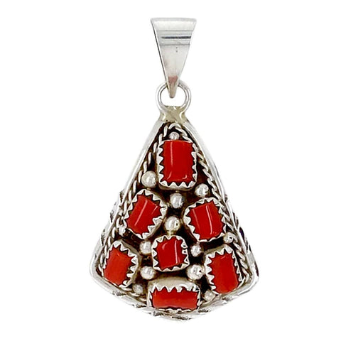 Image of Native American Necklaces & Pendants - Navajo Coral Cluster Sterling Silver Pendant - Mary Chavez