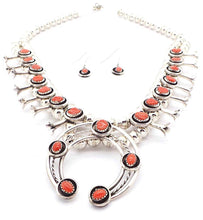 Load image into Gallery viewer, Navajo Coral Squash Blossom Necklace by Phil & Lenore Garcia