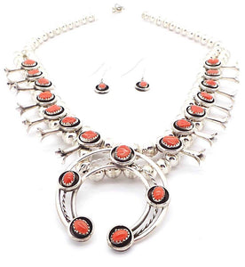 Navajo Coral Squash Blossom Necklace by Phil & Lenore Garcia