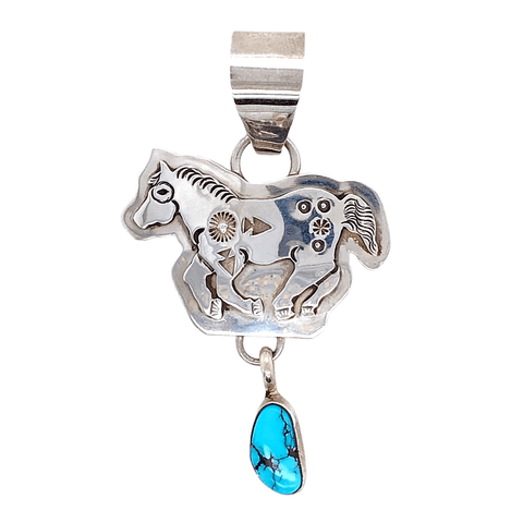 Native American Necklaces & Pendants - Navajo Embellished Running Horse Turquoise Dangle Pendant - Jeff Jame Jr.