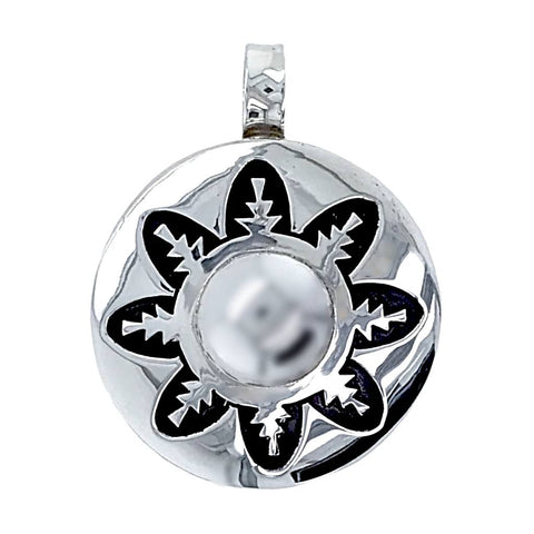 Image of Native American Necklaces & Pendants - Navajo Engraved Flower Sterling Silver Native American Pendant - Alvin Begay