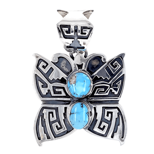 Native American Necklaces & Pendants - Navajo  Golden Hills Turquoise Butterfly Pendant - Randy Billy