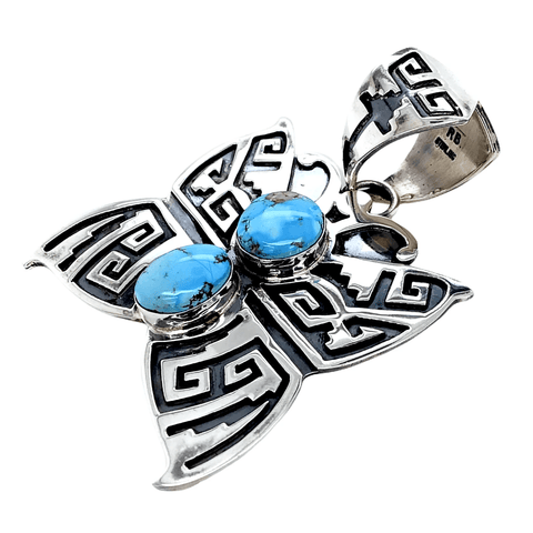 Image of Native American Necklaces & Pendants - Navajo  Golden Hills Turquoise Butterfly Pendant - Randy Billy