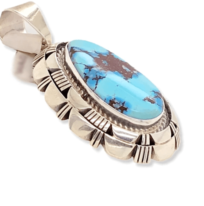 Native American Necklaces & Pendants - Navajo Golden Hills Turquoise Double Stack Pendant