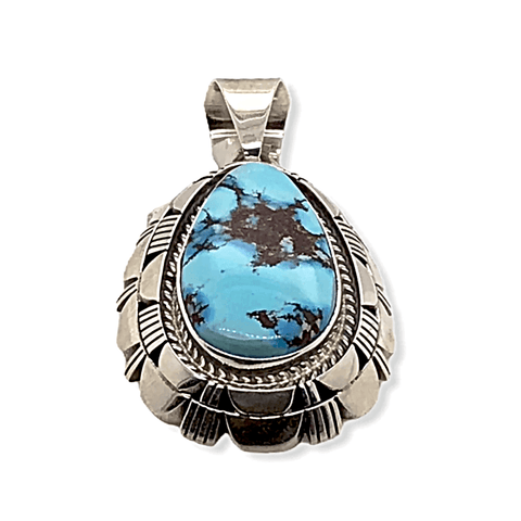 Image of Native American Necklaces & Pendants - Navajo Golden Hills Turquoise Double Stack Pendant