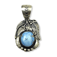 Load image into Gallery viewer, Native American Necklaces & Pendants - Navajo Golden Hills Turquoise Leaf Pendant
