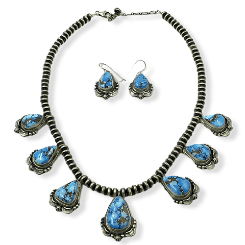 Native American Necklaces & Pendants - Navajo Golden Hills Turquoise Necklace Set