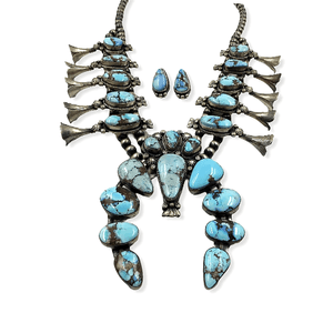Native American Necklaces & Pendants - Navajo Golden Hills Turquoise Squash Blossom Necklace