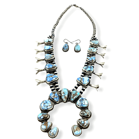 Native American Necklaces & Pendants - Navajo Golden Hills Turquoise Squash Blossom Necklace Set -Spencer