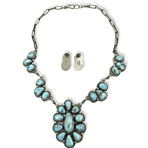 Native American Necklaces & Pendants - Navajo Goldenhills Turquoise Cluster Necklace Set