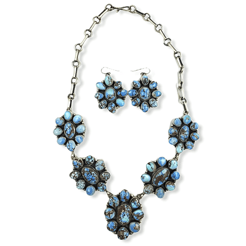 Native American Necklaces & Pendants - Navajo Goldenhills Turquoise Flower Necklace - D. Livingston