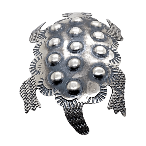 Image of Native American Necklaces & Pendants - Navajo Horned Toad Sterling Silver Pin - Tim Yazzie Brooch