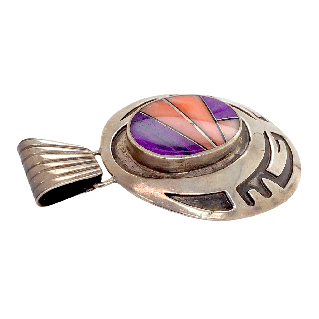 Native American Necklaces & Pendants - Navajo Inlay Pawn Purple Spiny Oyster And Shell Pendant