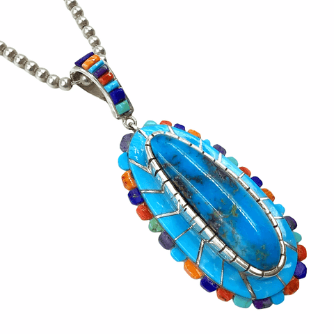 Native American Necklaces & Pendants - Navajo Kingman & Sleeping Beauty Turquoise Multi Stone Inlay Teardrop Necklace  - Merle House