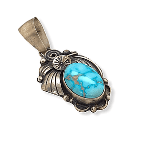 Native American Necklaces & Pendants - Navajo Kingman Turquoise Leaf Pendant -Old Style By Richard Hoskie