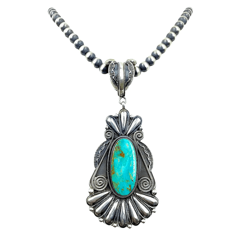 Native American Necklaces & Pendants - Navajo Kingman Turquoise Necklace  - Rick Martinez