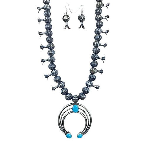 Image of Native American Necklaces & Pendants - Navajo Kingman Turquoise Oxidized Sterling Silver Squash Blossom Necklace Set - Leon Frances Kirlie
