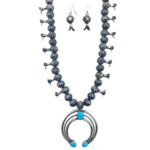 Native American Necklaces & Pendants - Navajo Kingman Turquoise Oxidized Sterling Silver Squash Blossom Necklace Set - Leon Frances Kirlie