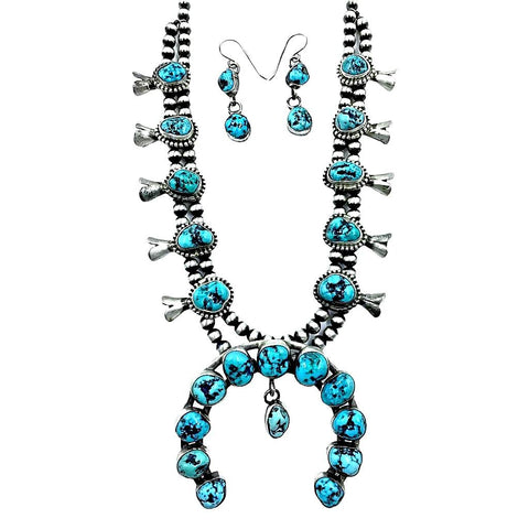 Native American Necklaces & Pendants - Navajo Kingman Turquoise Squash Blossom Native American Necklace Set - Kathleen Chavez