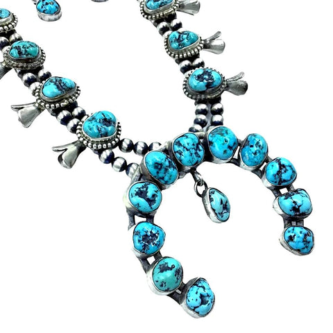 Image of Native American Necklaces & Pendants - Navajo Kingman Turquoise Squash Blossom Native American Necklace Set - Kathleen Chavez