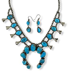 Native American Necklaces & Pendants - Navajo Kingman Turquoise Squash Blossom Necklace  -Ella Peters