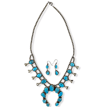 Load image into Gallery viewer, Native American Necklaces & Pendants - Navajo Kingman Turquoise Squash Blossom Necklace  -Ella Peters
