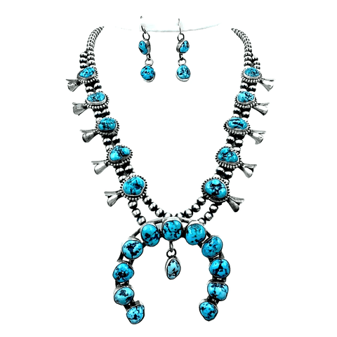 Image of Native American Necklaces & Pendants - Navajo Kingman Turquoise Squash Blossom Necklace Set - Kathleen Chavez