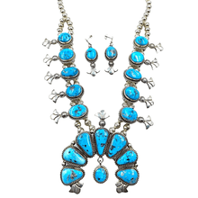 Load image into Gallery viewer, Native American Necklaces & Pendants - Navajo Kingman Turquoise Squash Blossom Necklace Set - Mary Ann Spencer